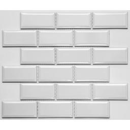 PR4595-31 Плитка Мозаика кабанчик белый - молочный на сетке размер кабанчика 45мм на 95 мм