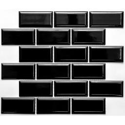 PR4595-32 Плитка Мозаика кабанчик черный на сетке размер кабанчика 45мм на 95 мм