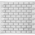 PR2348-40 Плитка Мозаика кабанчик белый - молочный  на сетке, размер кабанчика 23мм на 48 мм