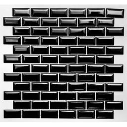PR2348-41 Плитка Мозаика кабанчик черный на сетке размер кабанчика 23мм на 48 мм